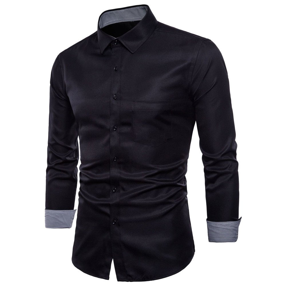 Hot Zlolia Men's Oxford Formal Casual Suits Long Sleeve Slim Fit Tee Dress Shirts Blouse Top Black by Zlolia-mens clothes