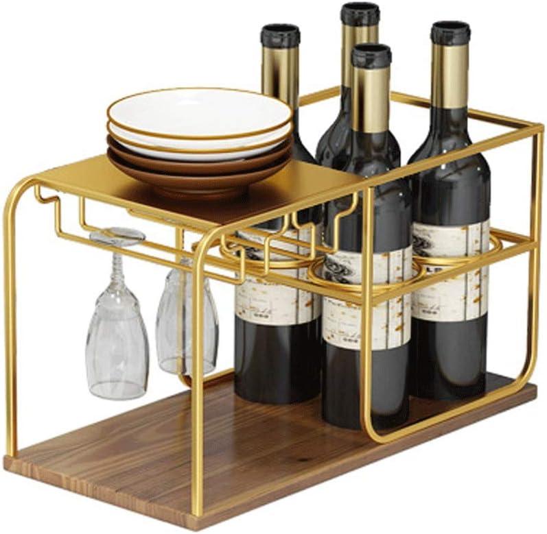ワインボトルラック 自立ホームバーテーブルワイン金属のワインラック収納の4本のボトルは、スペースの保護を節約するために立ちます クラシックスタイルのボトルラック (Color : Gold, Size : 4 Bottles)
