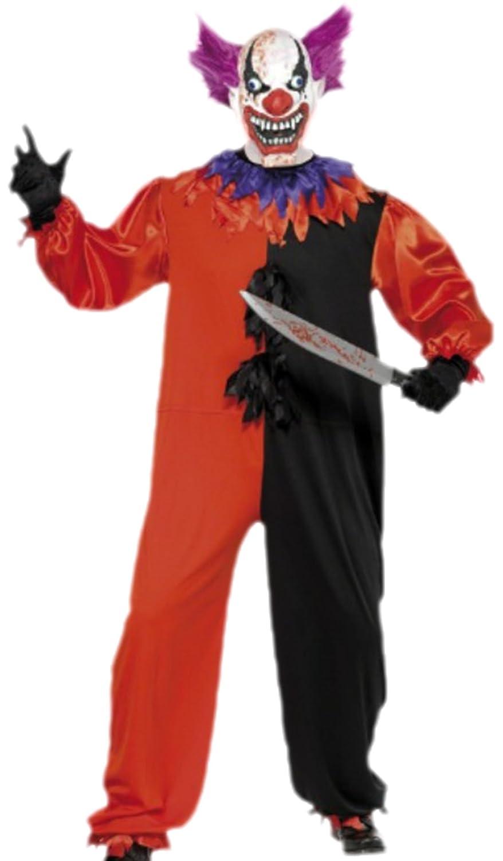 Herren Scary Horror Clown Karneval Kostüm mit Maske, S, Mehrfarbig