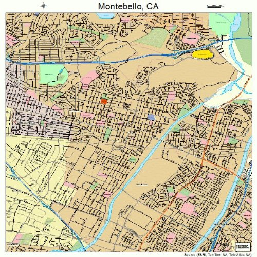 Large Street & Road Map of Montebello, California CA - Printed poster size wall atlas of your home - Montebello Town