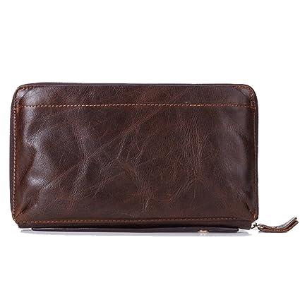 Gendi hombres de negocios billetera Vintage Brown zurriago hombres bolso de embrague 100% cuero genuino embrague bolsa de mano doble zipper monedero ...