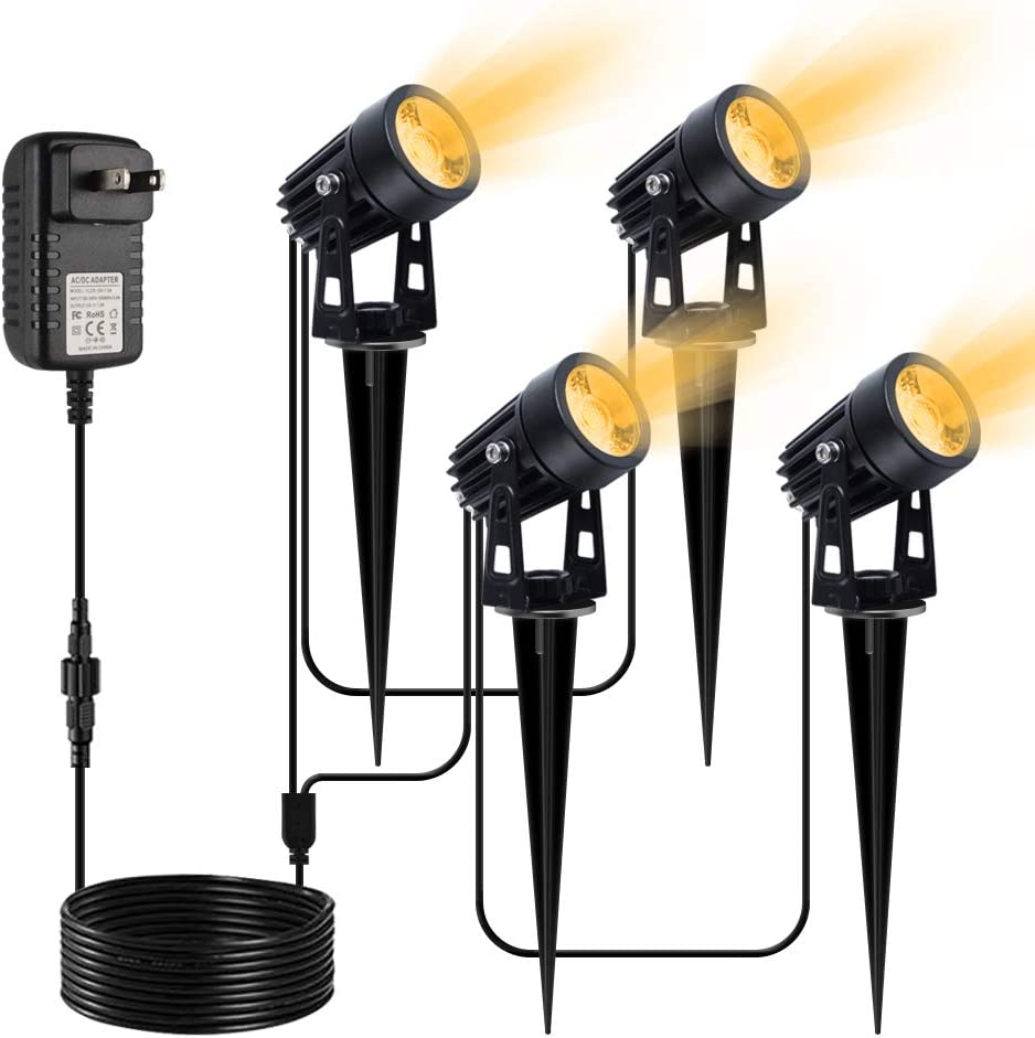 VOLISUN Spotlights Outdoor Landscape Lights with Transformer,66ft Cable IP65 Waterproof 12V Low Voltage with Stakes Warm White Landscape Lighting for Outdoor Garden Yard (4-in-1)