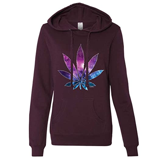 Cosmic Cannabis Space Pot Leaf Galaxy Ladies Lt./Wt. Hoodie - Black Medium