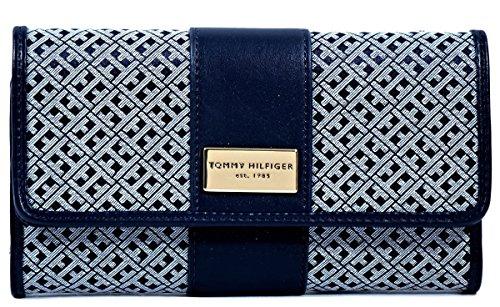 - Tommy Hilfiger Women's Clutch Checkbook Wallet (Navy/White Big H Logo Center Stripe)