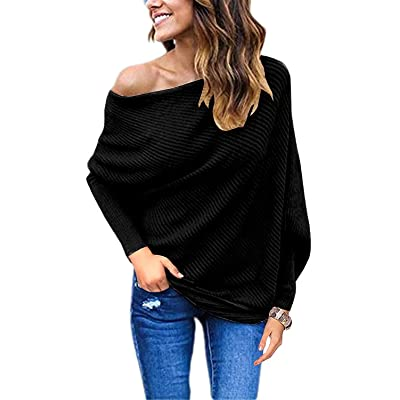 GOLDSTITCH Women's Off Shoulder Batwing Sleeve Loose Pullover Sweater Knit Jumper Oversized Tunics Top at Women's Clothing store
