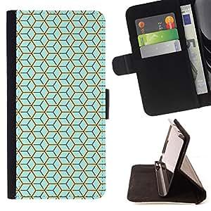 BullDog Case - FOR/Sony Xperia m55w Z3 Compact Mini / - / BLUE CUBE PATTERN /- Monedero de cuero de la PU Llevar cubierta de la caja con el ID Credit Card Slots Flip funda de cuer