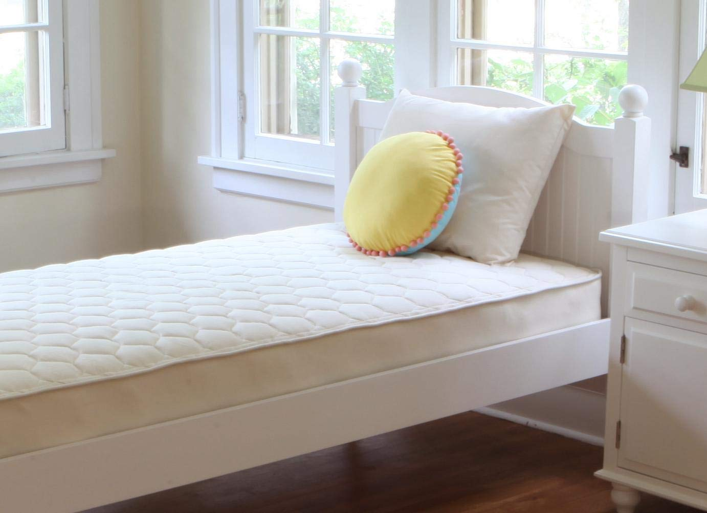 Naturepedic Organic Quilted Deluxe 1-Sided Mattress - Twin - Beige by Naturepedic
