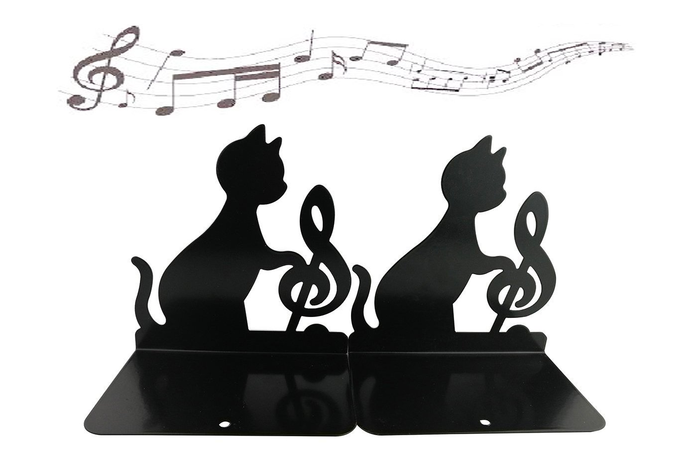 Winterworm Cute Lovely Funny Lazy Cat Playing Music Nonskid Thickening Iron Library School Office Home Study Metal Bookends Book End (Music Note)