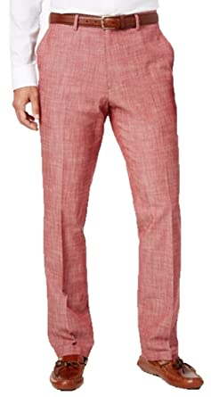 2dbec0460 Tasso Elba Men's Chambray Pants Flat Front 30x30 Pepperoni Red at ...