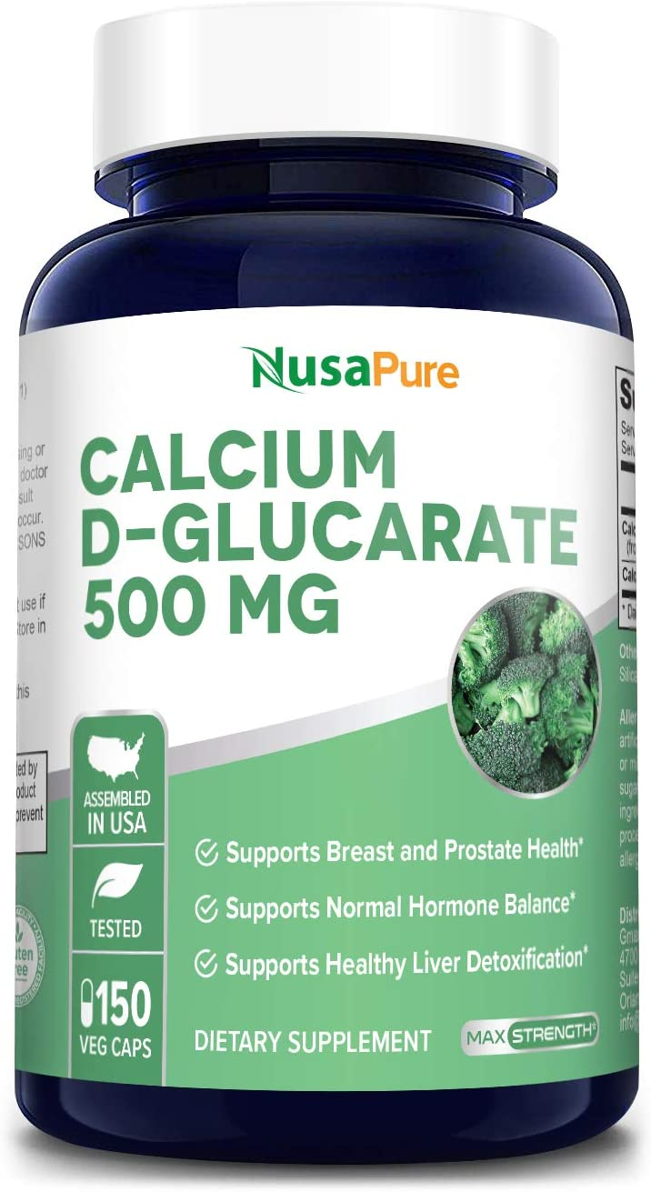 Calcium D-Glucarate 500 mg 150 Veggie Caps, Vegan, Non-GMO & Gluten-Free. Supports Normal Hormone Balance*