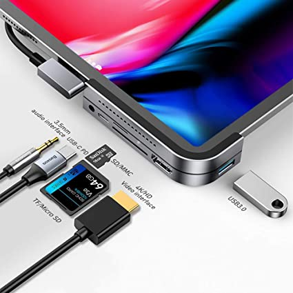 USB C HUB Adapter for iPad Pro 11//12.9 2018 2020,7 in 1 USB C Dongle with 3.5mm/&Type-C Earphone Headphone Jack with Volume Control,4K HDMI,USB C PD Charging/&Data,USB3.0,Micro SD Card Reader