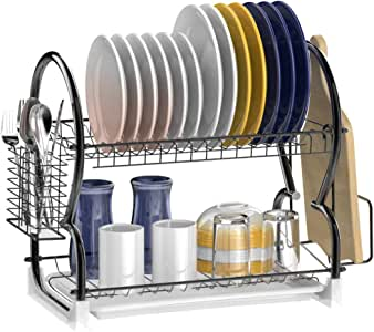 Dish Drying Rack, Veckle 2 Tier Dish Rack Stainless Steel Dish Drainer Utensil Holder, Cutting Board Holder with Removable Drain Board for Kitchen Countertop, Black
