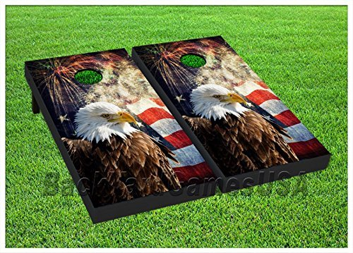 BackYardGamesUSA Cornhole Boards BEANBAG TOSS GAME w Bags Patriotic US...