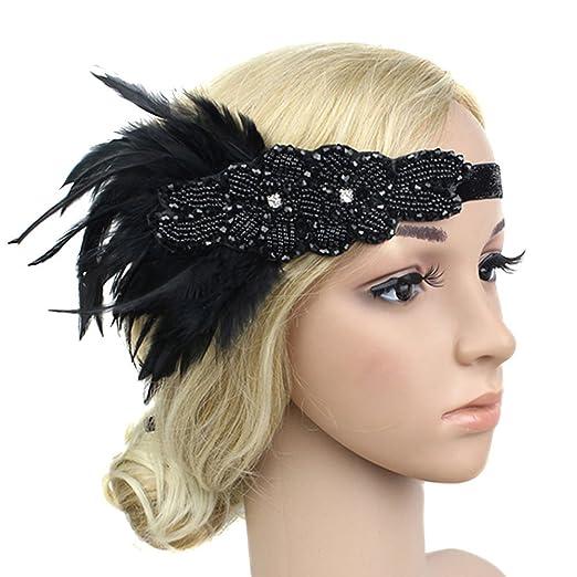 Amazon.com  Women Flapper Feather Headband Rhinestone Beaded Hair ... 170815c1462