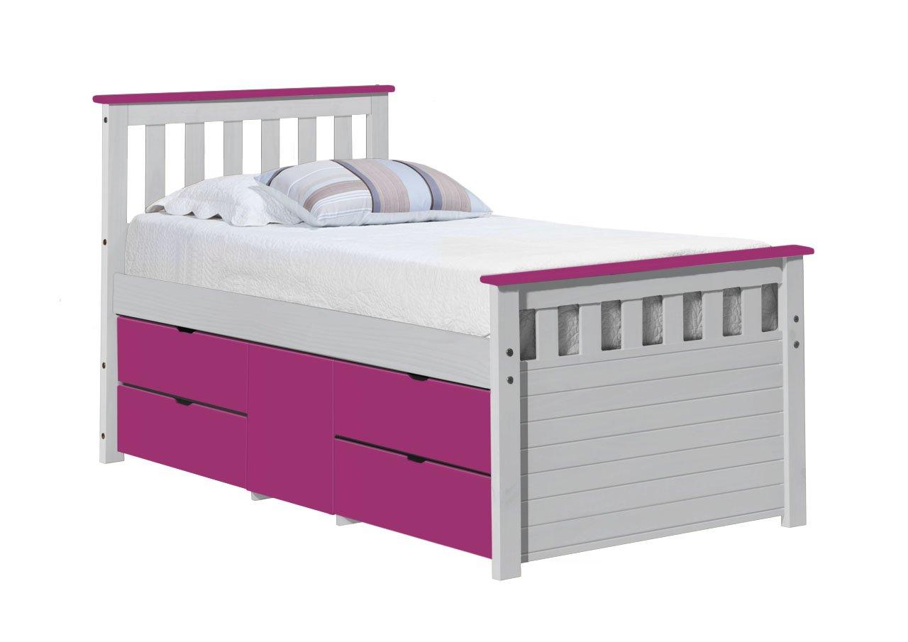 Design Vicenza Captains Ferrara Aufbewahrung Bett lang 3'0Weiß und Fuchsia