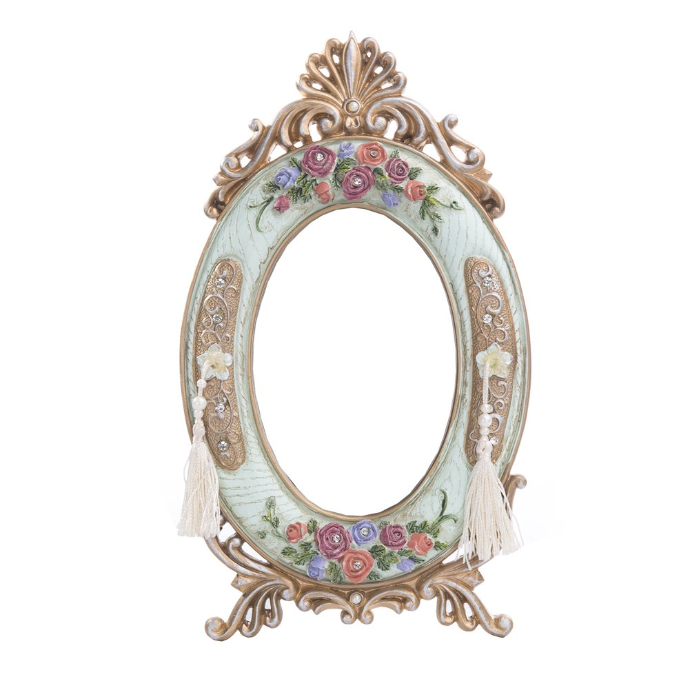 Nerien Oval Decorative Countertop Vanity Mirror Antique Roses Embossed Table Mirror with Tassel