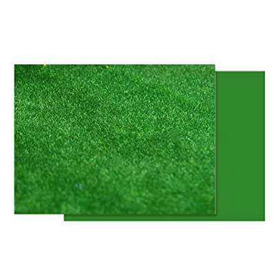 Yamix Model Train Grass Mat Artificial Grass Mat Fake Turf Lawn Paper for HO Train Railroad Scenery Landscape Layout Doll House Decoration, 60 x 120cm (Dark Green): Toys & Games