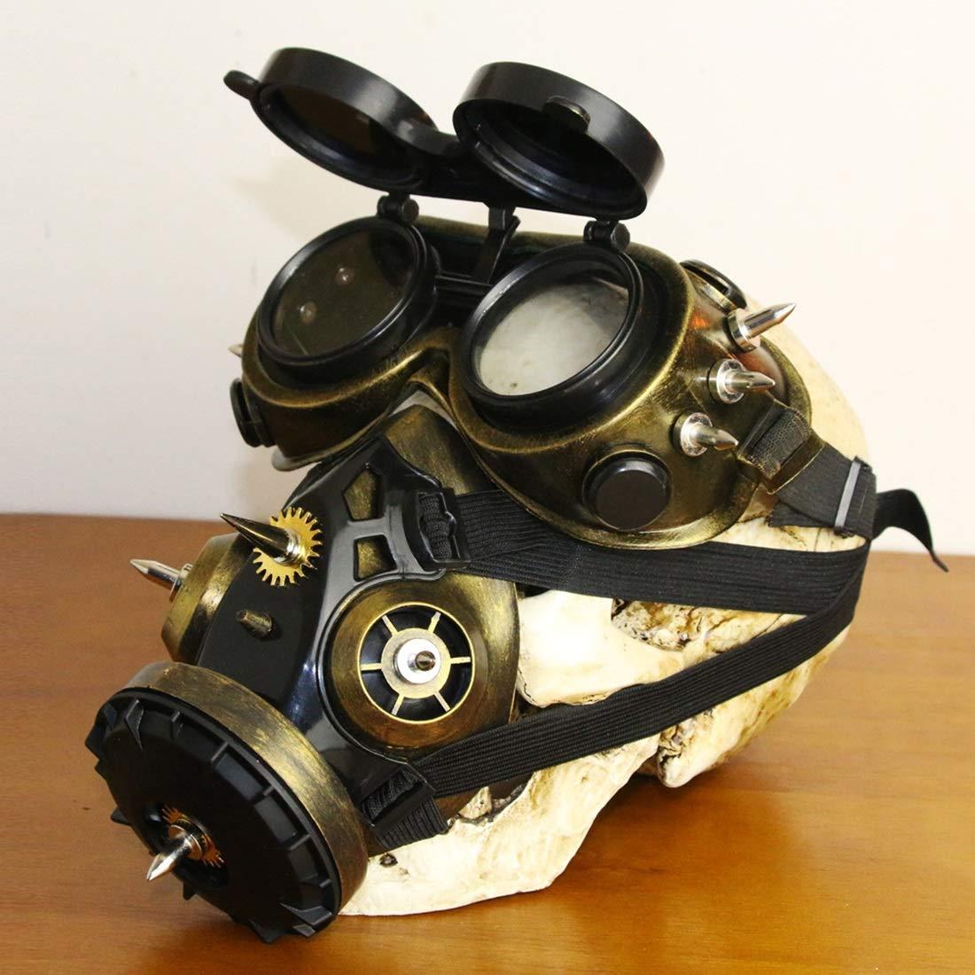 Fepelasi Cosplay Disfraz de Halloween Props Biohazard Steampunk Máscara de Gas Máscara Espigas Esqueleto Guerrero Máscara de la Muerte Mascarada (Color ...