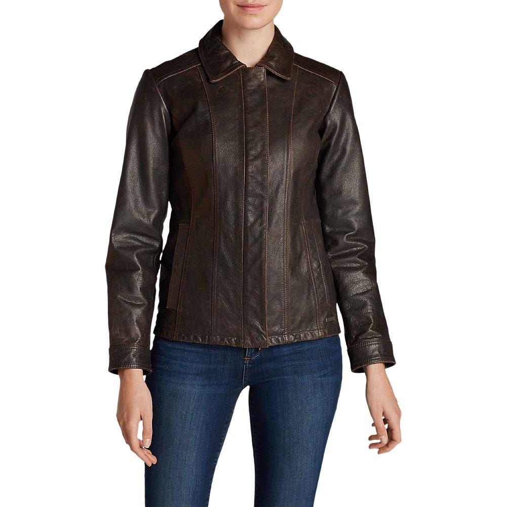 Eddie Bauer Women's Leather Stine Jacket, Dk Brown XL