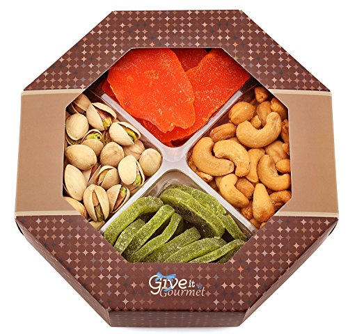 GIVE IT GOURMET, Gift Baskets,Holiday Fruit Nuts Gift Basket Delightful Gourmet Food Gifts Prime Delivery Birthday Christmas Mothers & Fathers Day Fruit Nuts Gift Box Assortment Men Women Families