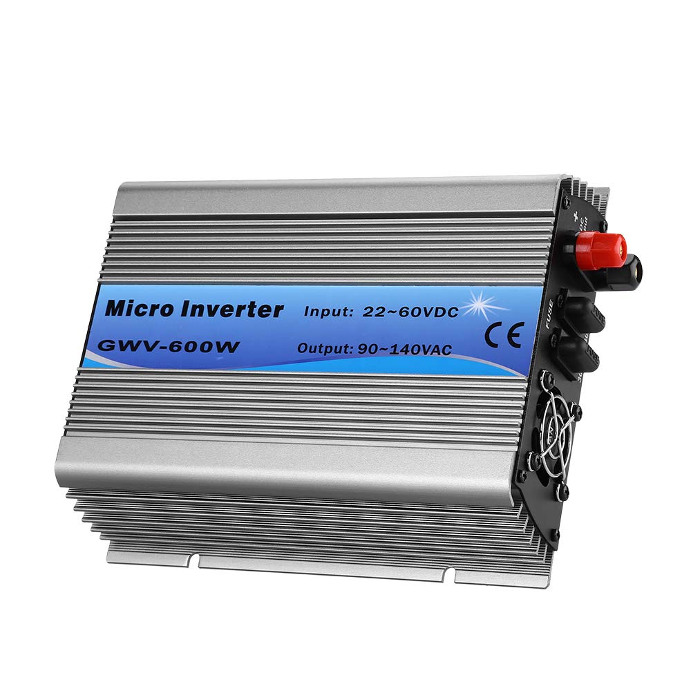 WonVon Solar Power Inverters,AC110V 600W Micro Inverter Grid Tie Inverter Stackable MPPT Pure Sine Wave DC22-60V to AC90-140V Output for 24V/36V/48V Storage Battery and 24V/36V Solar Panel by WonVon