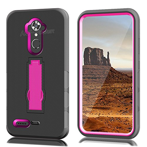 ZTE N9560 Case, HJ Power[TM] For ZTE Max XL N9560/ZMax Pro Z981/Blade X Max Z983/Max Blue/Blade Max 3 Z986 (Virgin Mobile, Boost Mobile)--Hybrid Hard Rubber w T Stand Case Pink Black