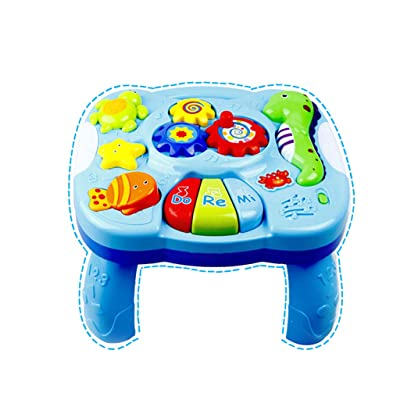 Music Study Table Baby Toys, Children's Electronic Light Music Animal Game Table with Music Switch Button Learning Education Intelligent Toys for Toddlers Infant Kids (Blue): Toys & Games