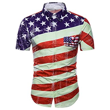 8bed4b4cb Men's Casual Slim Short Sleeve Shirt, American Flag Printed Casual  Button-Down Shirts Top- Independence Day at Amazon Men's Clothing store: