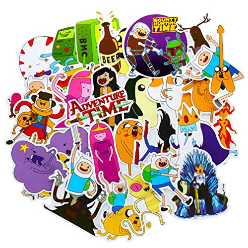 Adventure Time Stickers, Cartoon Vinyl Waterproof Laptop Sticker Skateboard Pad MacBook Car Snowboard Bicycle Luggage Decal 29Pcs Pack (Laptop Adventure Time Decal)
