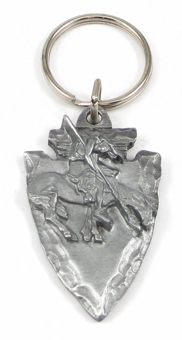 Pewter Key Ring - End of the Trail On Arrowhead