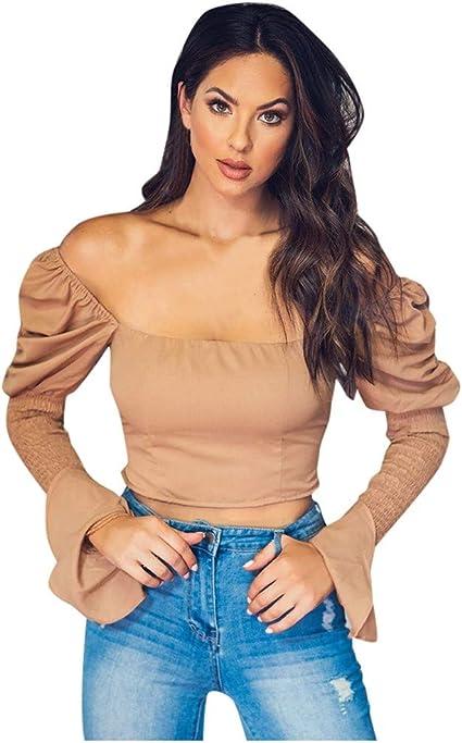 ZODOF camiseta mujer manga larga Moda Color sólido Hombro frío Blusa Manga de soplo Camisa plegable Ajustado Tops: Amazon.es: Instrumentos musicales