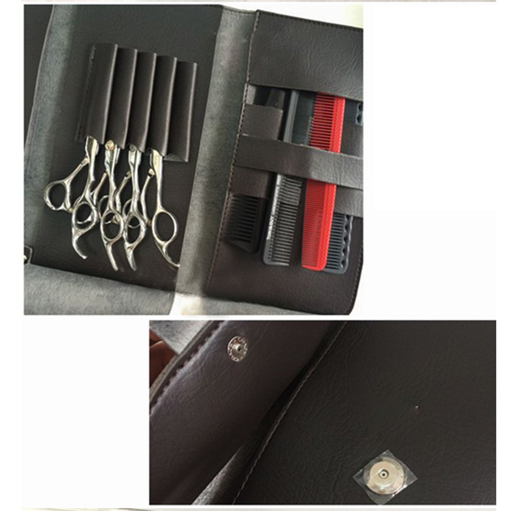 Anself Pro Bolsa de tijeras de cabello de peluquería de cuero estuche plegable para herramientas de peluqueros Abody