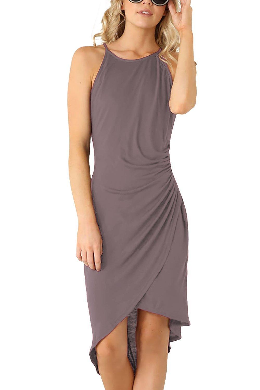 Eliacher Women's Summer Spaghetti Strap Sleeveless Casual Bodycon Midi Dress Dark Grey Medium (Bust  82-86cm/32.30-33.90'', Waist 70-74cm/27.60-29.10'', Length 113cm/44.50'')