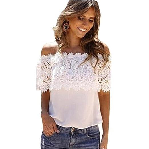 Fashion Women Off Shoulder Casual Tops Blouse Lace Crochet Chiffon Shirt T-Shirt