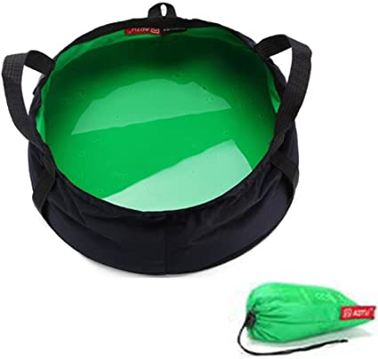 Wendy1860 Outdoor Cookware Portable Multifunctional Foldable Collapsible Wash Basin Bucket for Camping Hiking Fishing Traveling with Carrying Pouch