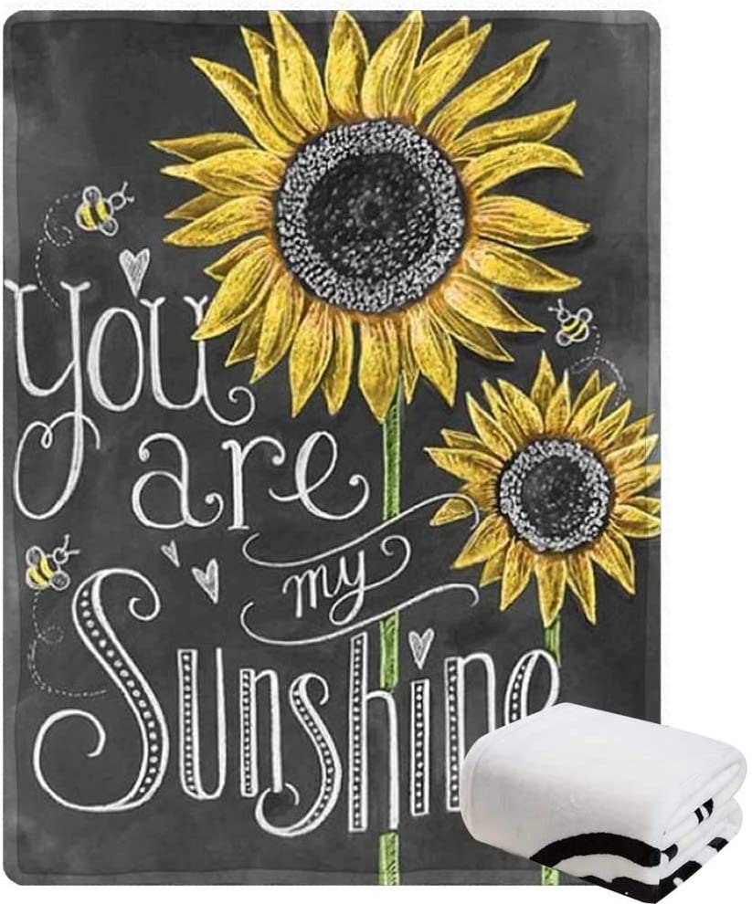 """Morebee Square You are My Sunshine Fleece Throw Blanket Soft Lightweight Blanket for Bed Couch Sofa Travelling Camping for Girls(30""""x 45"""")"""