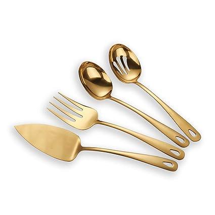 Berglander de acero inoxidable dorado de titanio plateado juego de cubiertos 4 piezas, servidor de la torta de carne fría tenedor perforado cuchara de ...