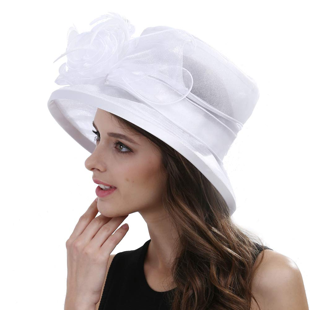 Original One Women's Kentucky Derby Tea Part Dress Church Fascinators Fancy Hats (White) M by Original One (Image #3)