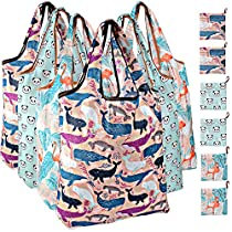 Venhoo Reusable Grocery Shopping Bags Heavy Duty Nylon Cloth Folding Eco Friendly Large Shopping Tote Bag with Pouch, Washable, Durable, Lightweight (Dolphin+Flamingo+Panda, 6-Pack)