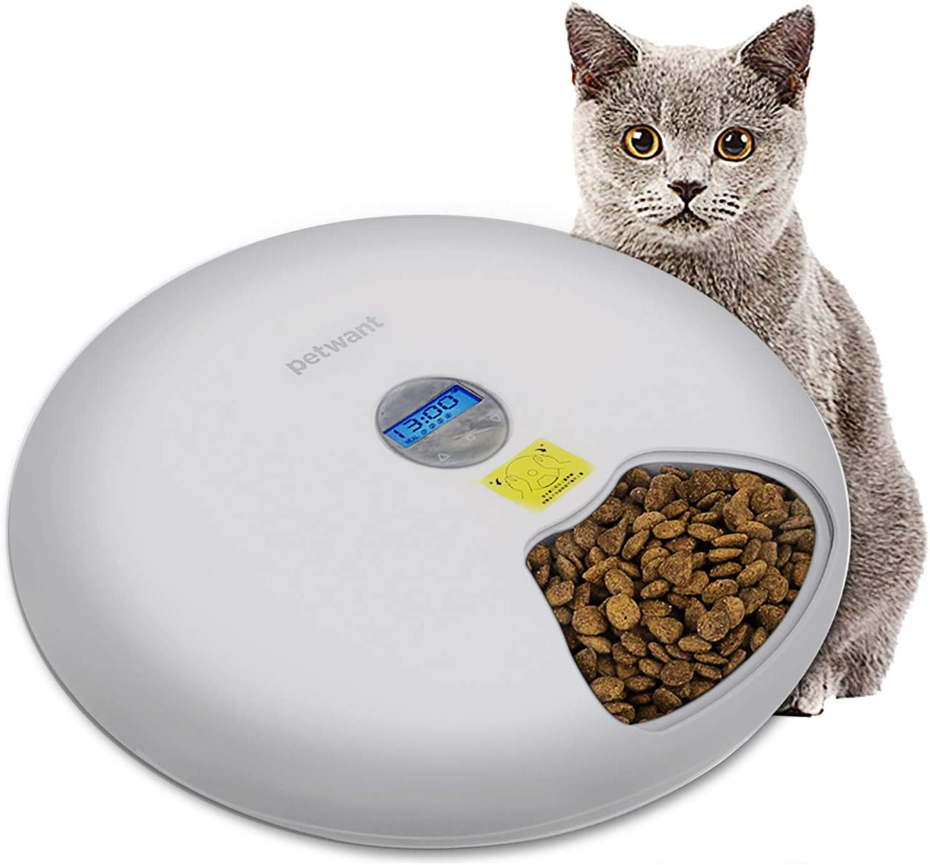 Automatic pet Feeder 6-Meal Food Dispenser with Programmable Digital Timer for Dogs, Cats & Small Animals, Power by USB or Battery, Portion Control, LCD Display ,Feeds Wet or Dry Food