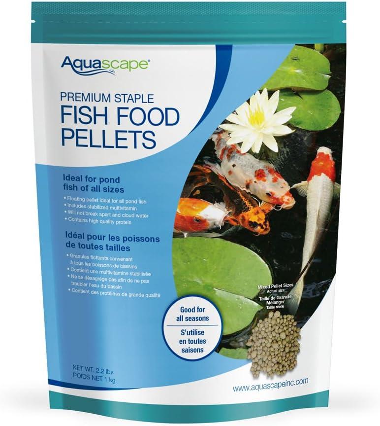 Aquascape Premium Staple Pond and Koi Fish Food, Mixed Pellet Size, 2.2-Pounds