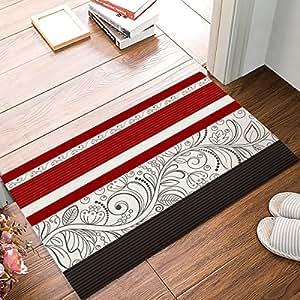 Alfombrilla de ducha antideslizante alfombra de baño muy suave al derecho ángulos alfombra rojo diseño floral Felpudo por findamy