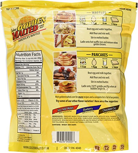Carbon's Golden Malted Pancake & Waffle Flour Mix, Original, 32-Ounces by Golden Malted (Image #4)