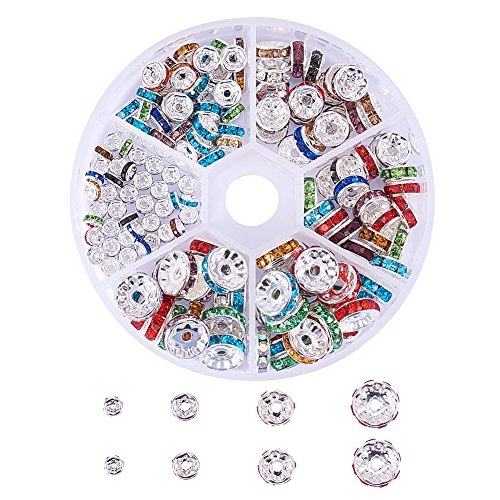 PandaHall Elite About 160 Pcs Brass Crystal Rondelle Rhinestone Spacer Beads Diameter4mm 6mm 8mm 10mm for Jewelry Making Mixed Colors