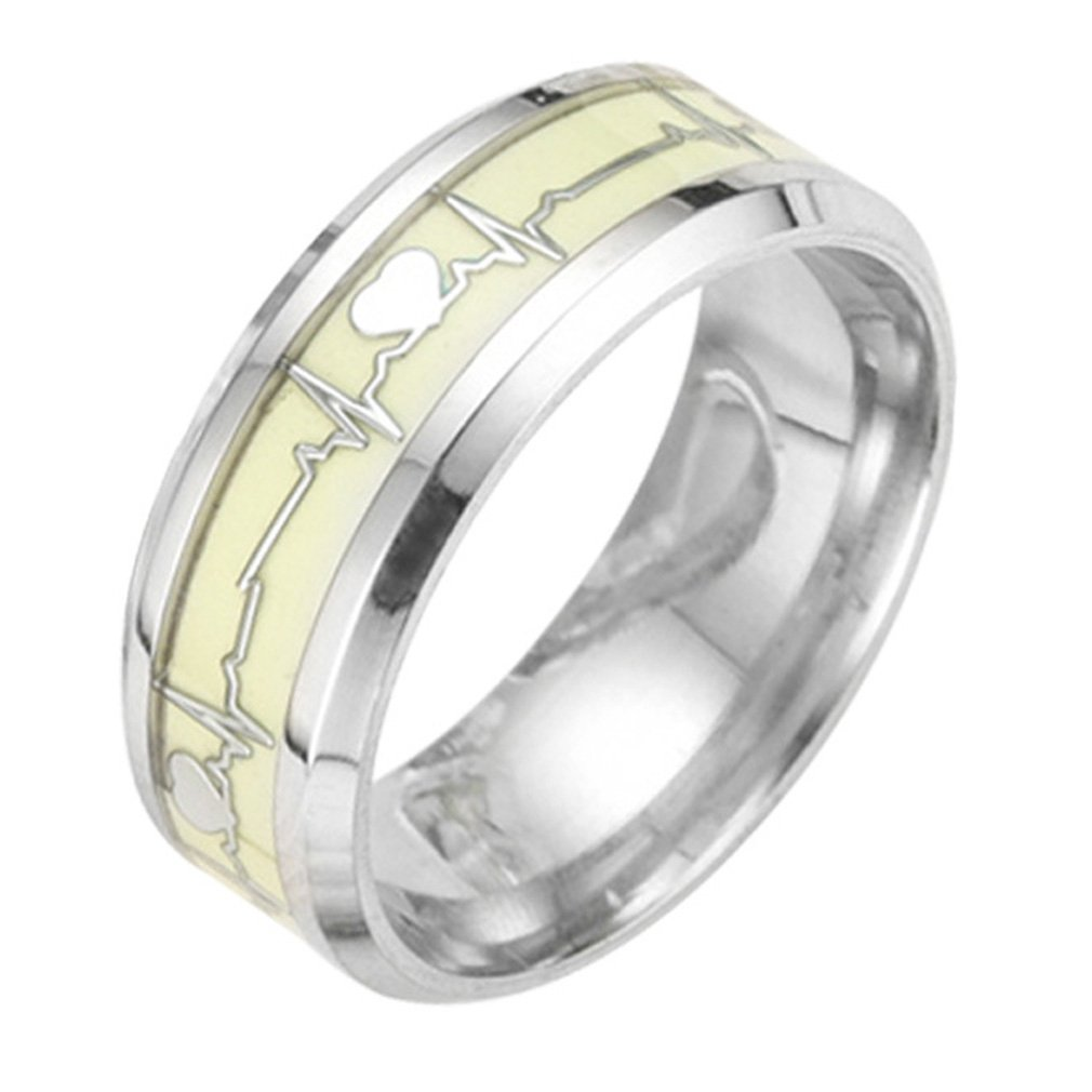 TINXOO Stainless Steel 8MM Silver Luminous Heartbeat Ring EKG Carbon Fiber Wedding Band Glow in The Dark,Size 7