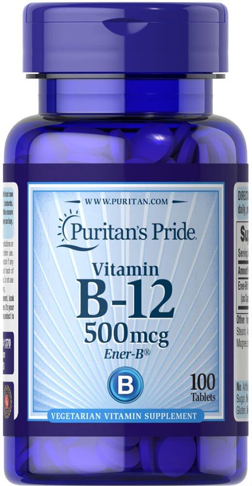 Vitamina B-12 500 mcg 100 tabletas. B12. Puritans Pride 1 ...