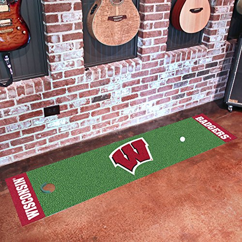 FANMATS NCAA University of Wisconsin Badgers Nylon Face Putting Green Mat