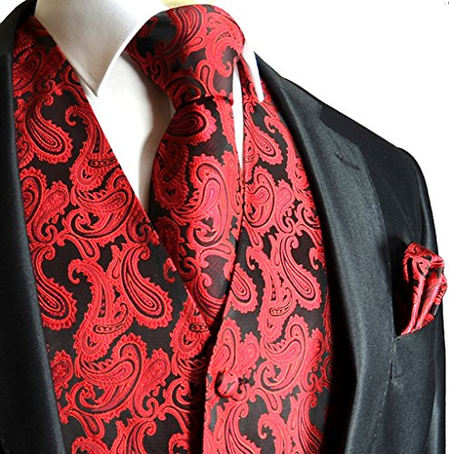 - Men's 3pc Paisley Vest (3XL (Chest 54), Red/Black)