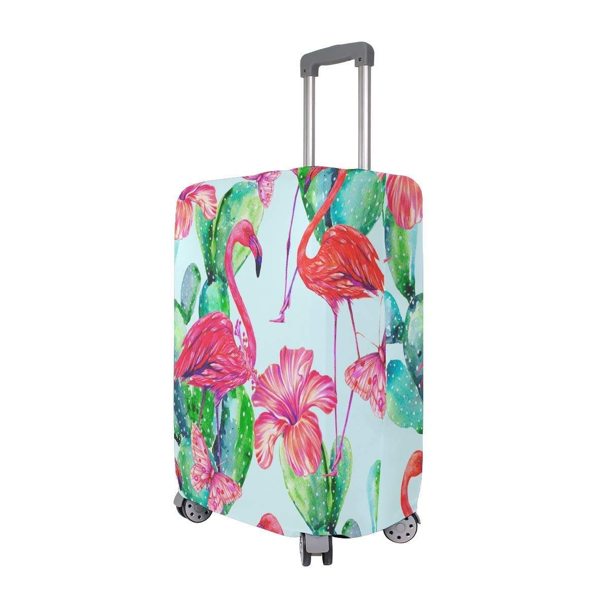 VIKKO Flamingo With Flowers And Cactus Travel Luggage Cover Suitcase Cover Protector Travel Case Bag Protector Elastic Luggage Case Cover Fits 29-32 Inch Luggage for Kids Men Women Travel