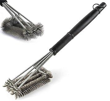 dosmung Barbacoa cepillo bbq Cepillo Cerdas de acero inoxidable, accesorios para barbacoa Lavado para camping